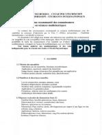 2016 - FUI - Contenu recommandé des connaissances en mathématiques
