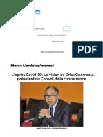 L'après Covid-19_ La vision de Driss Guerraoui, président du Conseil de la concurrence