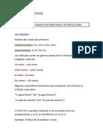 Adjetivos y artículos