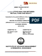 COMPARTIVE ANALYSIS BETWEEN MUTUAL FUND AND EQUITY aditya birla money new