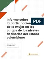 Informe sobre la participacion de la mujer en los cargos de los niveles decisorios del Estado colombiano