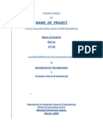 Minor Project Progress Report Format