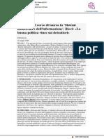 """Creato il nuovo corso in """"Tecnologia industriale"""" - Pu24.it, 14 maggio 2020"""