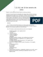 Decreto nº 22332 de 1933 - Serviço Policial