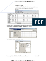 SPSS Basics Probability Distributions