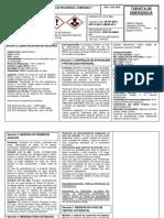 Tarjeta de emergencia ACEITE HIDRAULICO ISO 68 PRUEBA