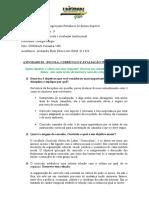 Portifólio 01 - Escola, Curriculo e Avaliação Institucional