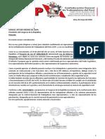 CARTA CGTP AL PRESIDENTE DEL CONGRESO DE LA REPUBLICA SOBRE PARTICIPACIÓN DE TRABAJADORES Y PENSIONISTAS EN COMISIÓN DE REFORMA(1)