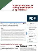 Guías de Jerusalen para el diagnostico y tratamiento de apendicitis