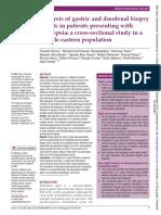 Analisis de biopsia gastrica y duodenal en ptes con dispepsia