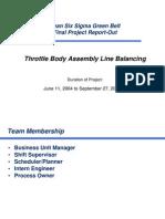 Throttle Body Assembly Line Balancing - Case Study VI