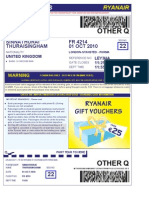 Ryan Air Boarding Pass