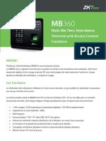 Pointeuse Multi-biométrique MB360 ZKTeco Algerie Reconnaissance Faciale