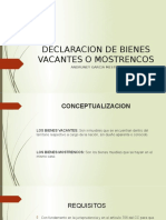 DECLARACION DE BIENES VACANTES O MOSTRENCOS