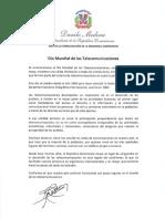 Mensaje del presidente Danilo Medina con motivo del Día Mundial de las Telecomunicaciones 2020