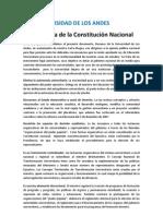 UNIVERSIDAD DE LOS ANDES En defensa de la Constitución Nacional