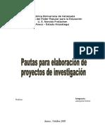 Informe sobre pautras para elaborar un proyecto de investigación