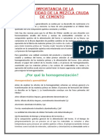 LA IMPORTANCIA DE LA HOMOGENEIDAD DE LA MEZCLA CRUDA DE CEMENTO