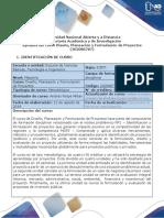 Syllabus del curso Diseño, planeación y formulación de proyectos