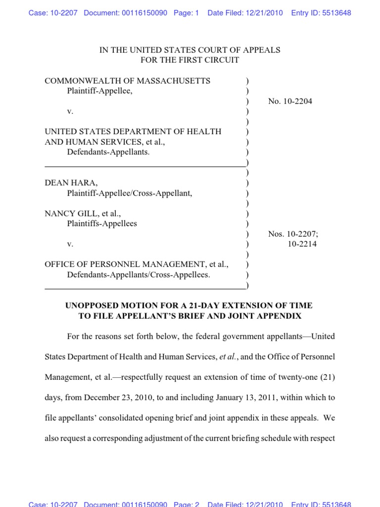DOMA cases - Motion to extend time to file briefs ...