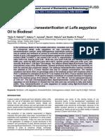 Heterogeneous Transesterification of Luffa aegyptiaca Oil to Biodiesel