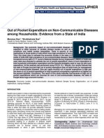 Out of Pocket Expenditure on Non-Communicable Diseases among Households