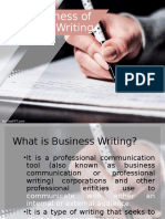 THE BUSINESS OF BUSINESS WRITING