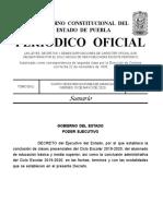 Decreto Fin de Ciclo Escolar Puebla