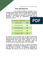 NOTA INFORMATIVA APOYOS A TRABAJADORAS SEXUALES SIN IMÁGENES 15-05-20