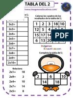 tablas para multiplicar en colores