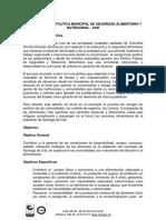 Política Pública Municipal de Seguridad y Soberanía Alimentaria y Nutriciona