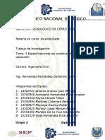 tema 3 Especificaciones de construcción y operacion