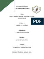 GUIA DE APRENDIZAJE UNIDAD 4 DE LENGUAJE Y LITERATURA, IRVIN GEOVANI GONZÁLEZ GONZÁLEZ