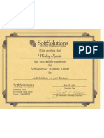 SoftSolutions Training Certificate 1993 for Wesley Kenzie