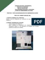 Práctica 1. Ciclos de refrigeración por compresión de vapor
