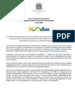 Comunicado Interministerial - Edição EXTRA de 500 DIAS - 14052020