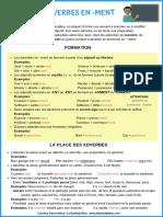 Fiche Les Adverbes en Ment Cls9