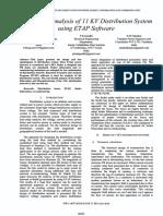 Design and analysis of 11 KV distribution system using ETAP software