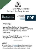 2019_DerbyCon_ActiveDirectorySecurity_BeyondTheEasyButton_Metcalf