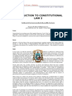 Constitutional Law 2 Collated Digests | Impeachment | Constitutional