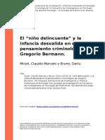 Miceli, Claudio Marcelo y Bruno, Dario (2016). El onino delincuenteo y la infancia desvalida en el pensamiento criminologico de Gregorio (..)