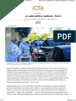 Direito Penal, saúde pública e epidemia - Parte I - JOTA Info
