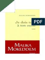 Malika Mokeddem - Je dois tout à ton oubli..pdf