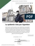 La epidemia vista por Agamben - por Giorgio Agamben - Revista Santiago