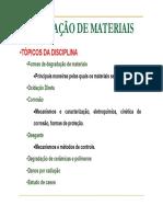 AULA - DEGRADAÇÃO DE MATERIAIS