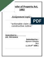 TPA 1882 - actionable claim and constructive notice - Apoorv Chopra-813-LL.B 3YR (4th SEM).docx