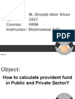 Provident Fund Calculation in Public and Pvt Sector of Pakistan