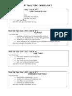 Short Talk Topic Cards - EIC 3 (Unit 1-3)