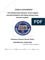 The Relationship Between Social Support and Psychological Well Being Among Newly Married Couples