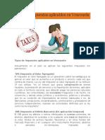 Tipos de Impuestos aplicables en Venezuela